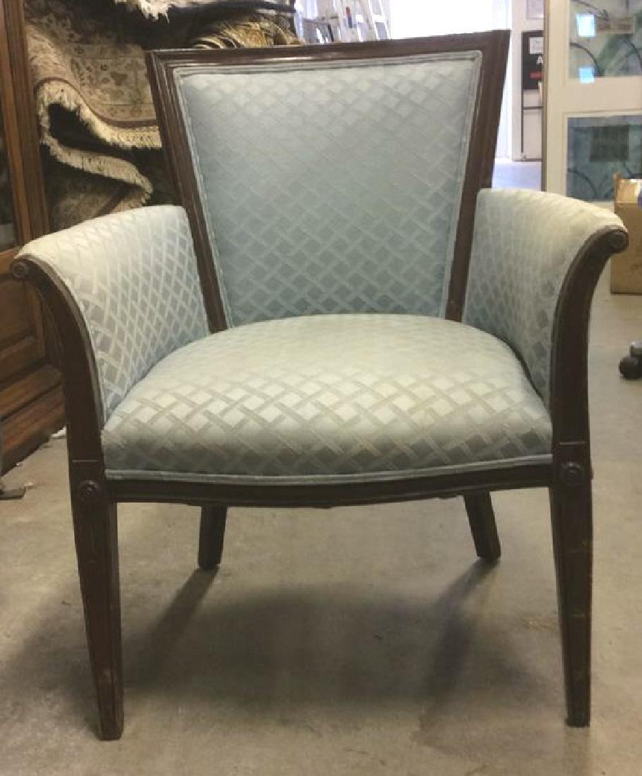 Vintage Wood Framed Upholstered Bergere Chair