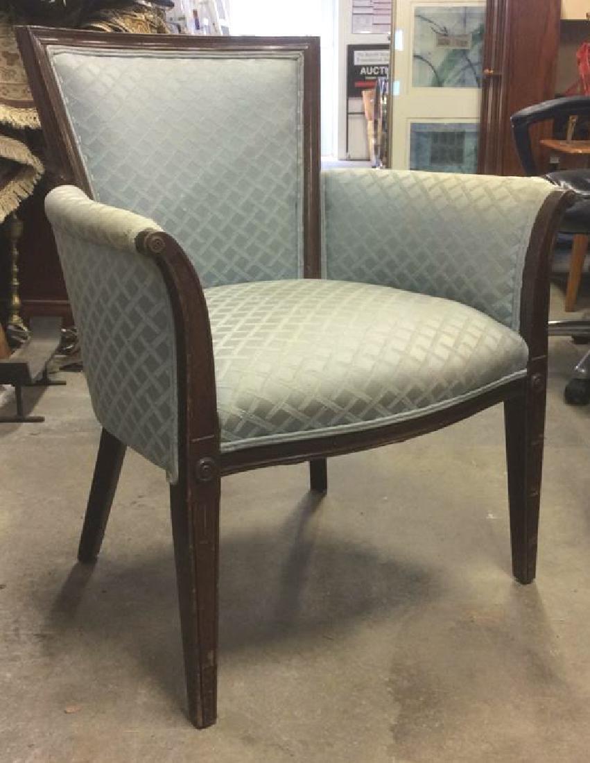 Vintage Wood Framed Upholstered Bergere Chair - 2