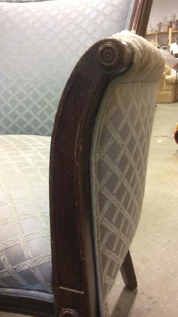 Vintage Wood Framed Upholstered Bergere Chair - 7