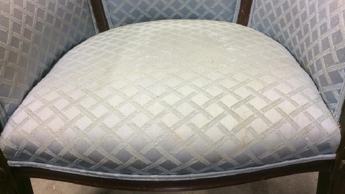 Vintage Wood Framed Upholstered Bergere Chair - 9