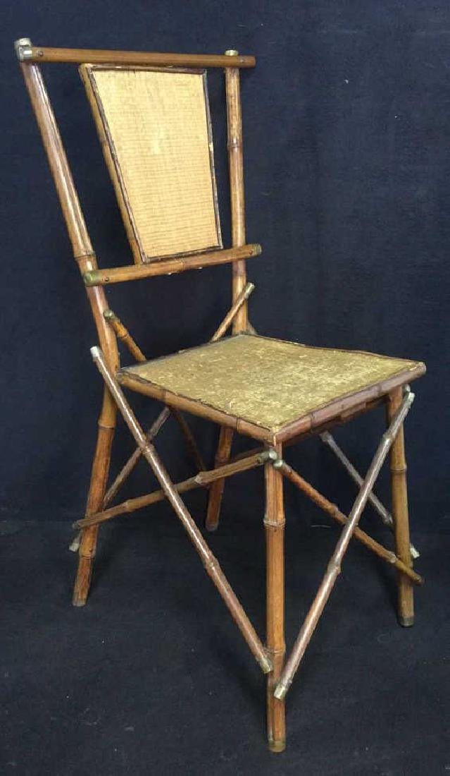 Victorian Antique Bamboo Chair With Rush Panels