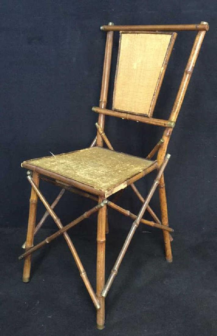 Victorian Antique Bamboo Chair With Rush Panels - 5