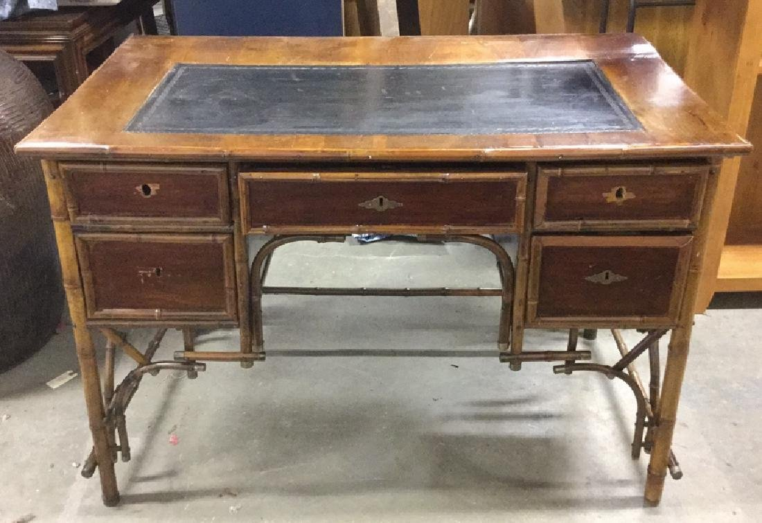 Victorian Style Bamboo And Leather Topped Desk