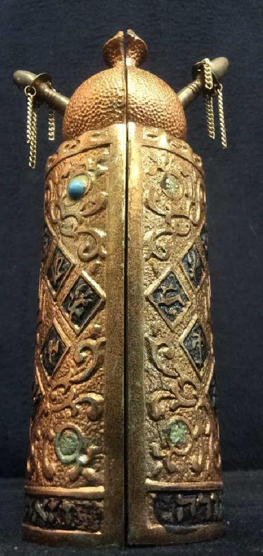 Copper Toned intricately embossed designed Torah
