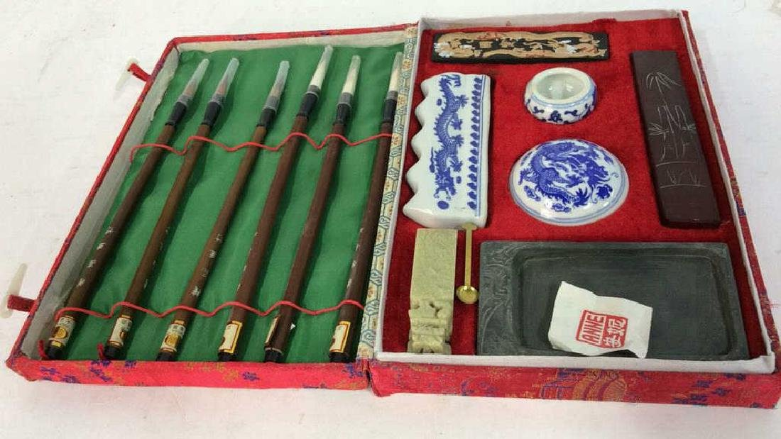 VIntage Custom Made Calligraphy Set w Sik Box - 3