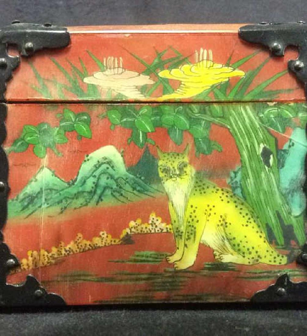 Wooden Lacquered Asian Style Colorful Jewelry Box - 10