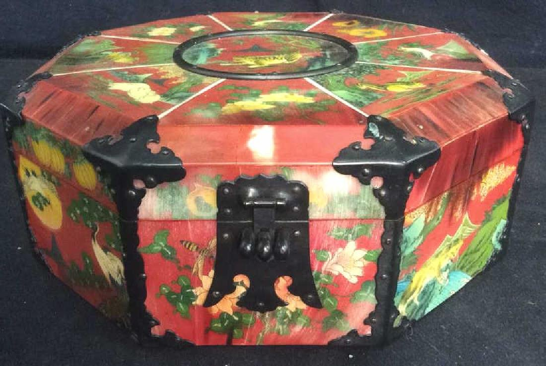 Wooden Lacquered Asian Style Colorful Jewelry Box