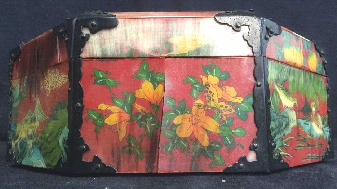 Wooden Lacquered Asian Style Colorful Jewelry Box - 5