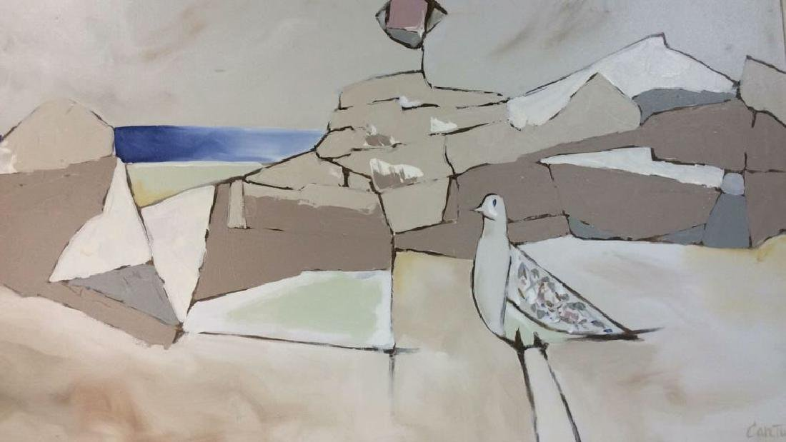 Cartwell Painted Canvas Seagull In Seascape