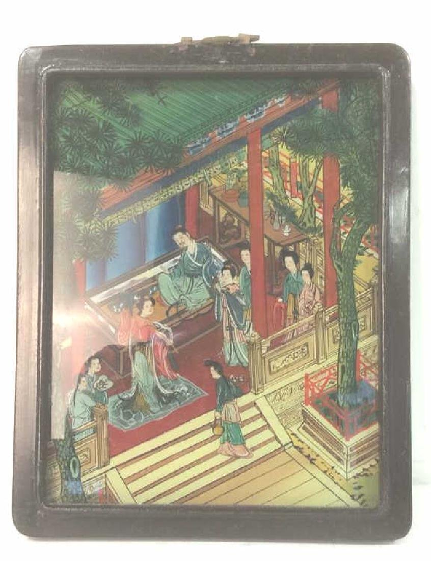 Framed Asian Painted Glass Artwork