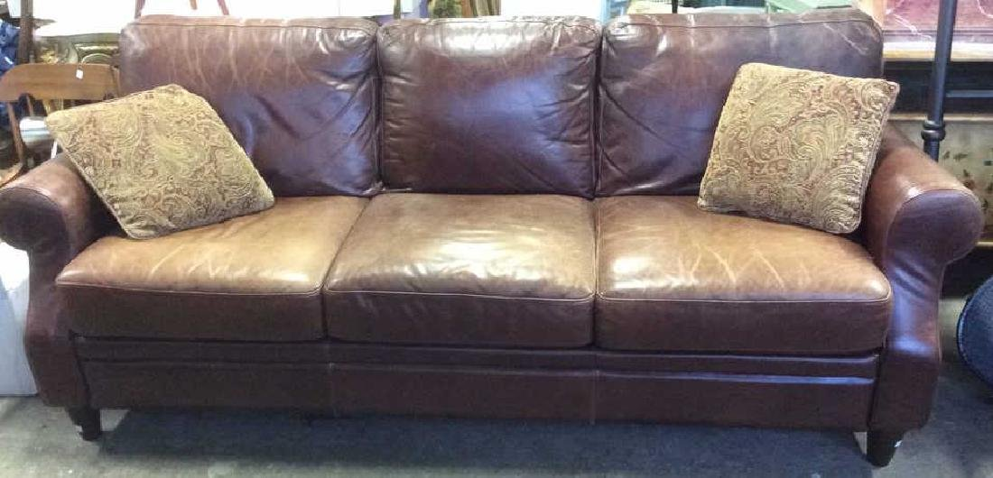 Lot 3 Chocolate Toned Leather Sofa & Pillows