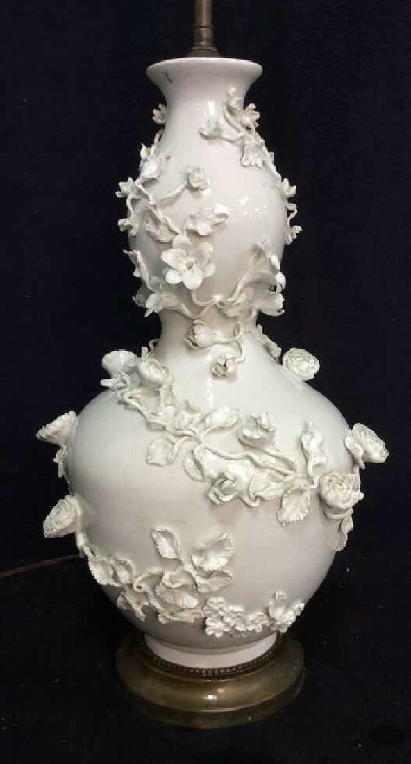 Sculpted Floral Asian Gourd Form Porcelain Lamp