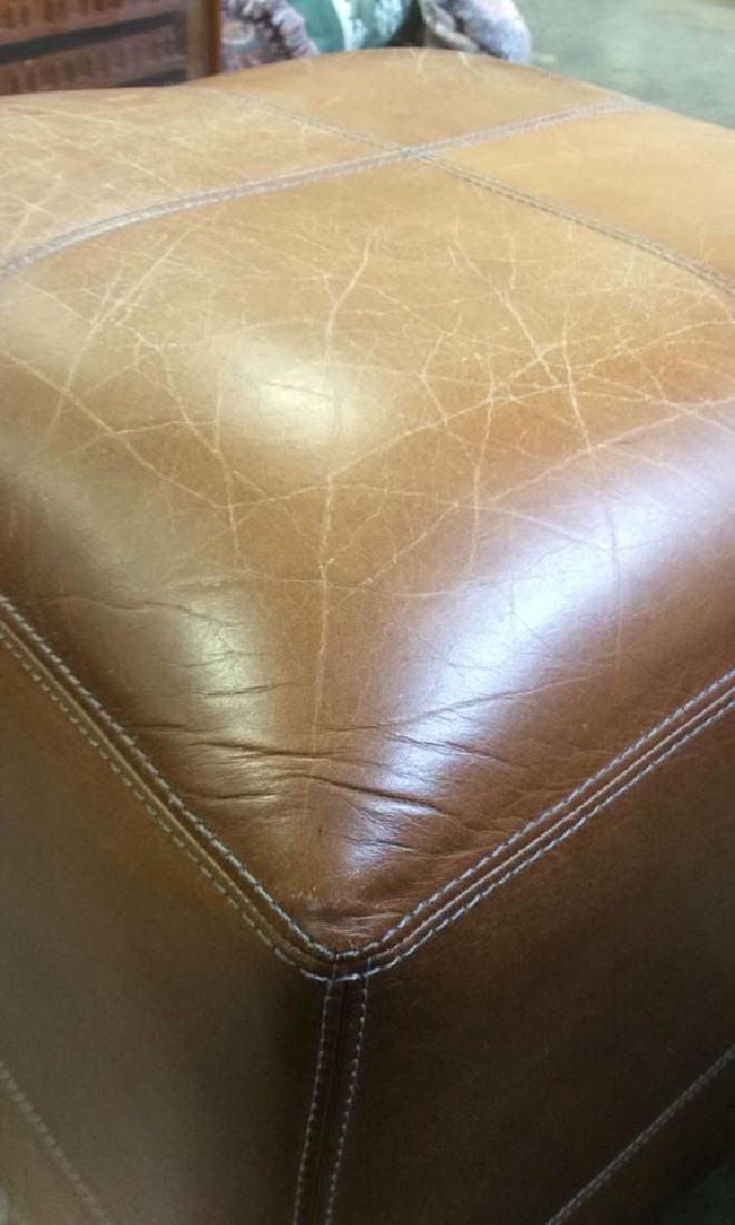 Pair Caramel  Toned Leather Ottomans - 10