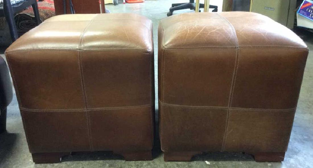 Pair Caramel  Toned Leather Ottomans