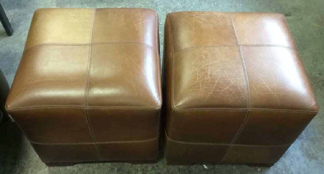 Pair Caramel  Toned Leather Ottomans - 2