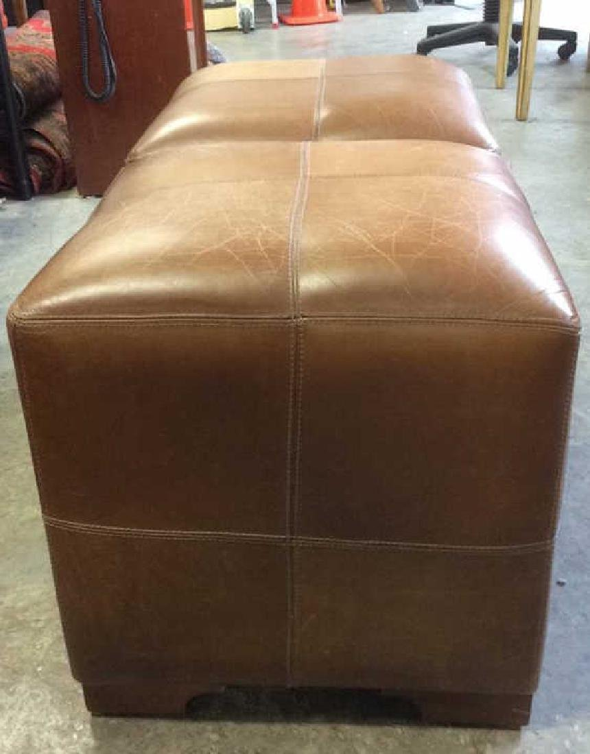 Pair Caramel  Toned Leather Ottomans - 3
