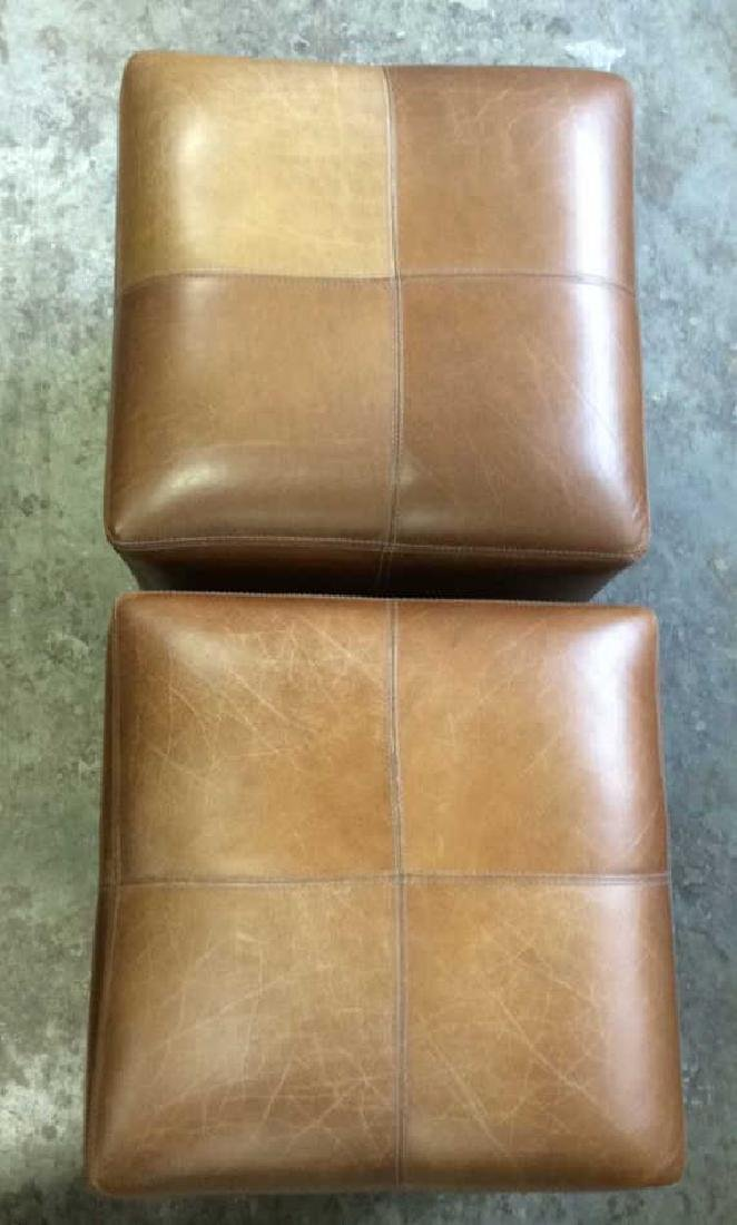 Pair Caramel  Toned Leather Ottomans - 4
