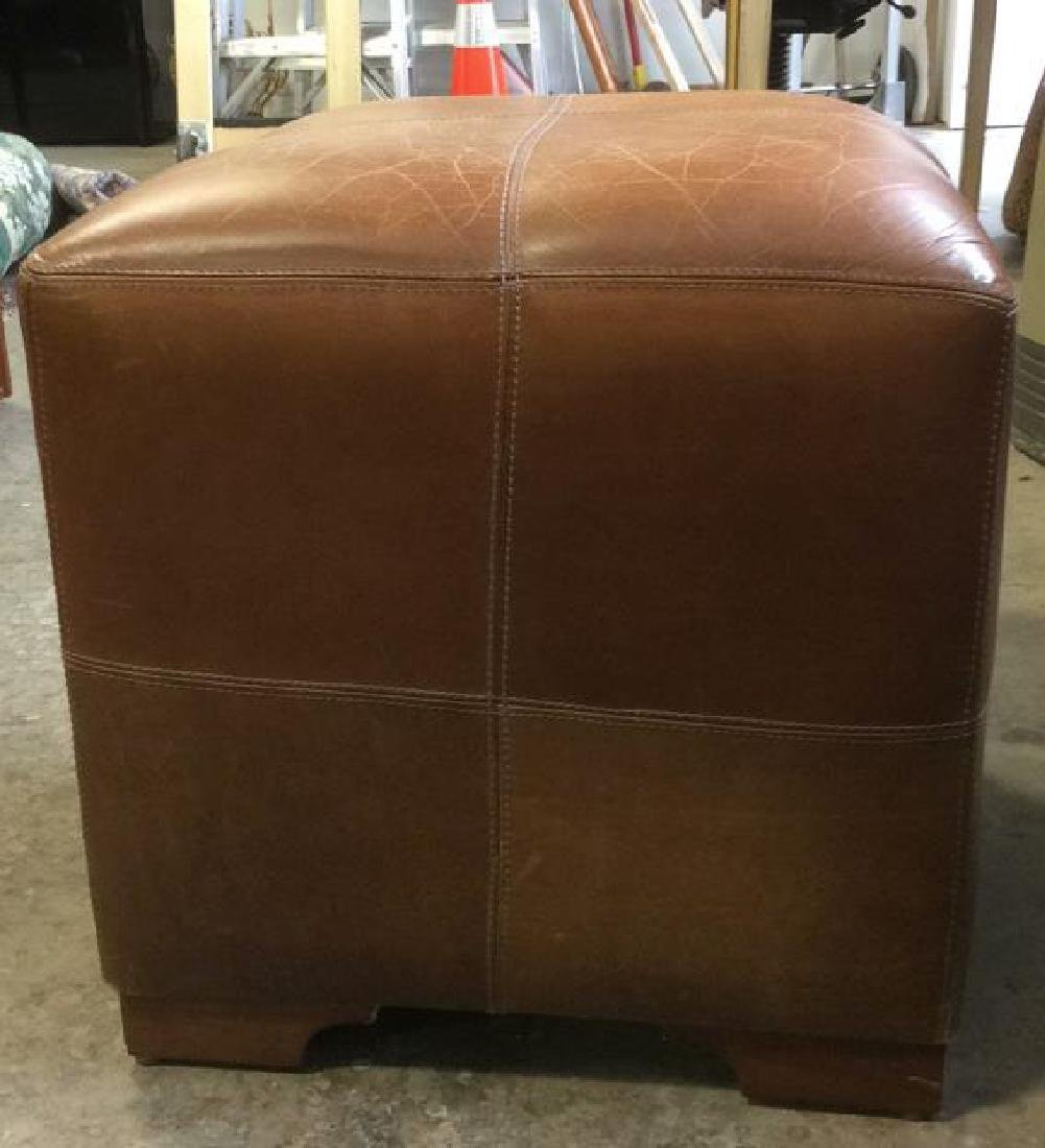 Pair Caramel  Toned Leather Ottomans - 5