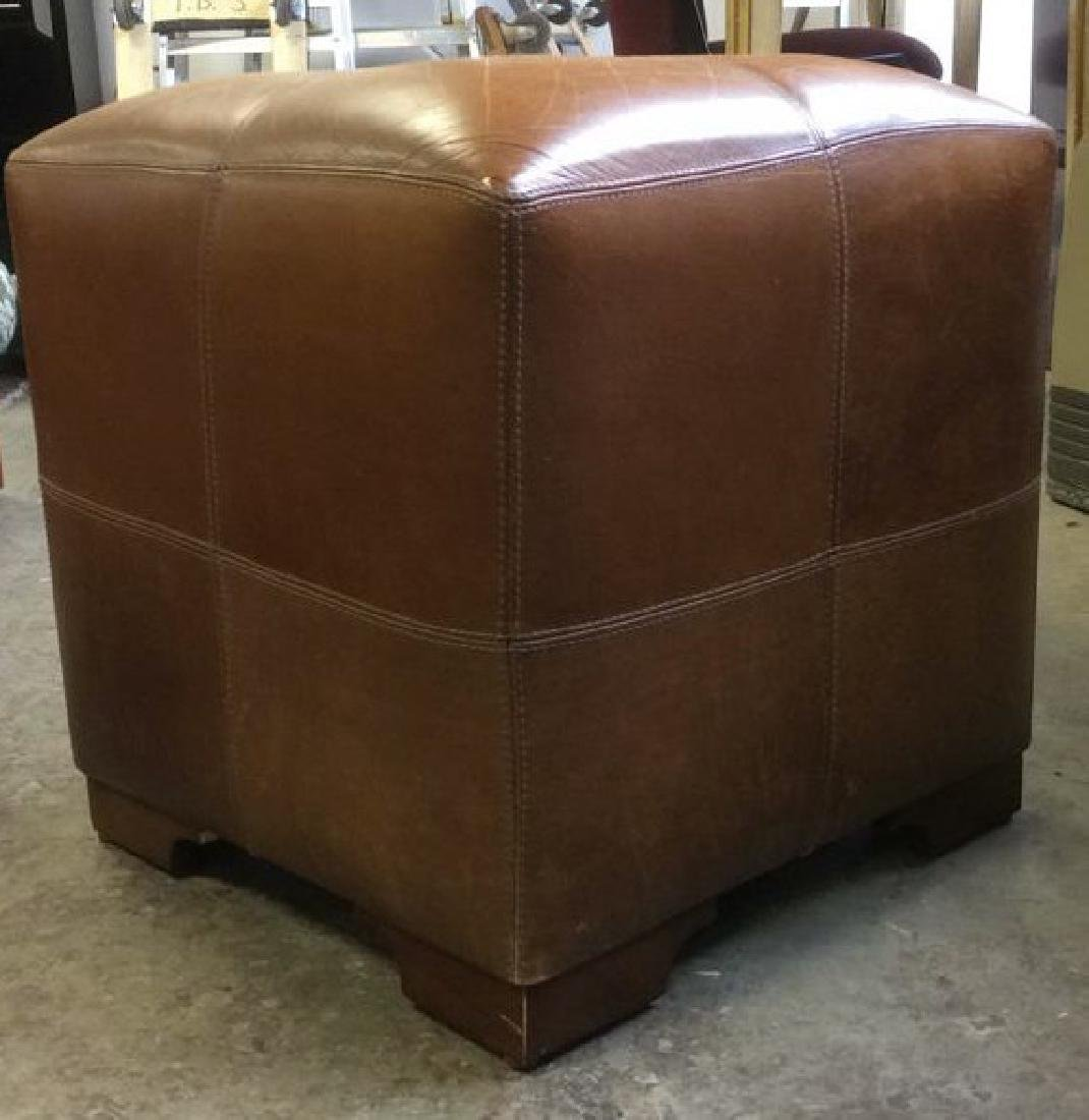 Pair Caramel  Toned Leather Ottomans - 6