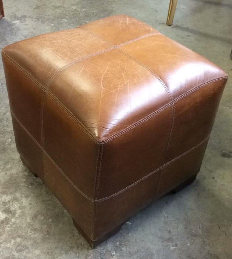 Pair Caramel  Toned Leather Ottomans - 7