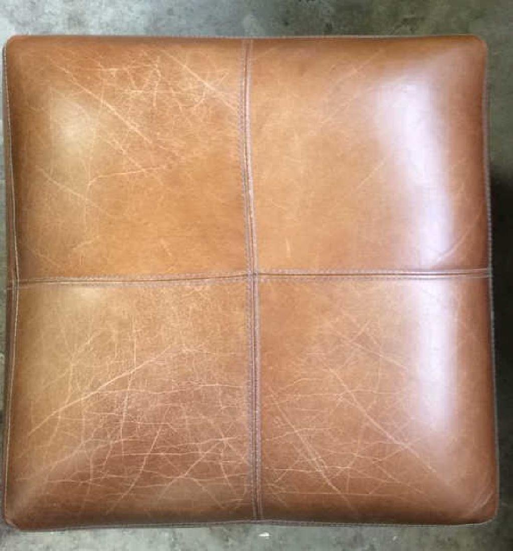 Pair Caramel  Toned Leather Ottomans - 8