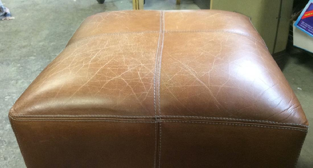 Pair Caramel  Toned Leather Ottomans - 9