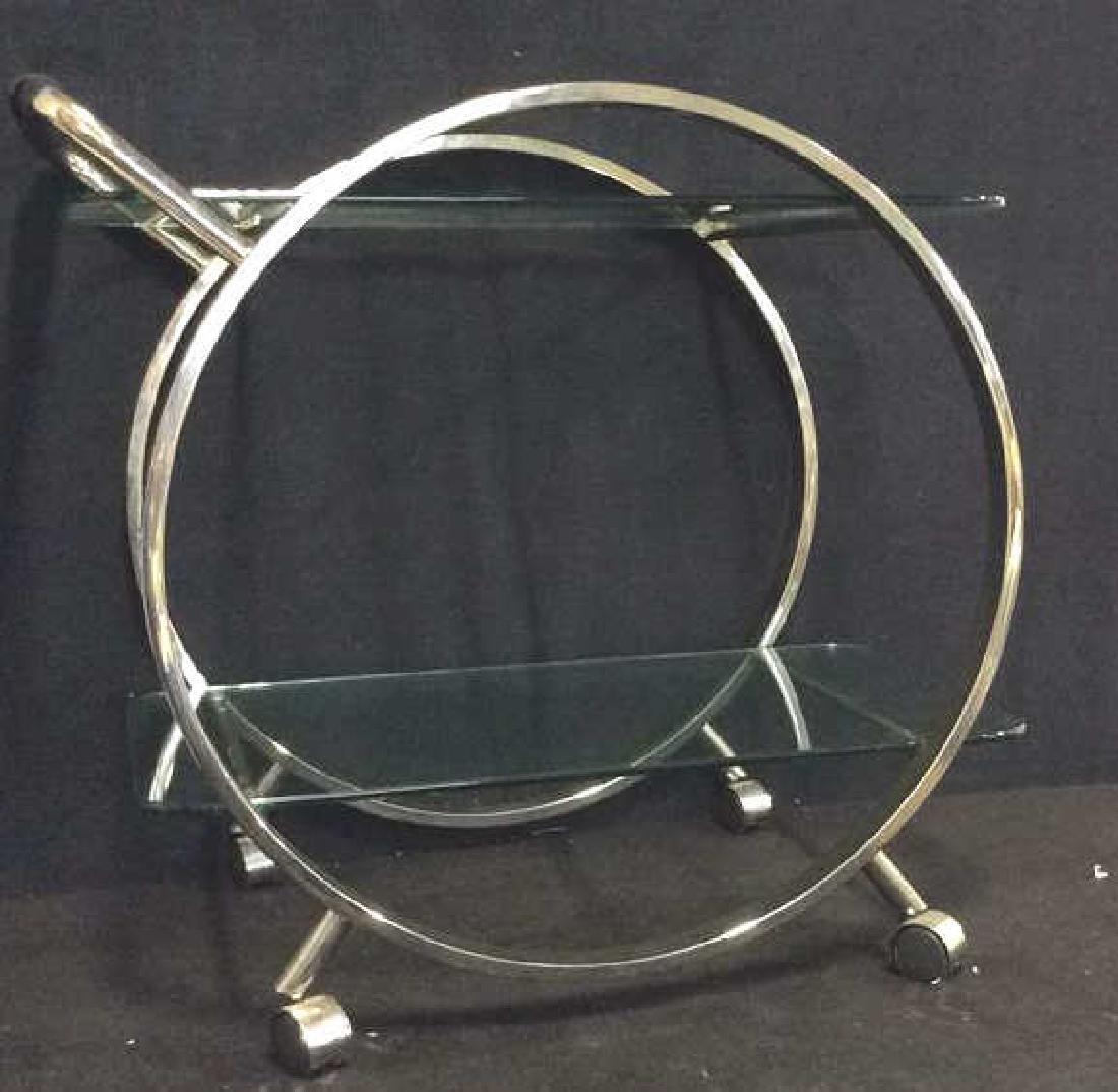 Silver Toned Metal Glass Retro Tea Cart Bar Cart