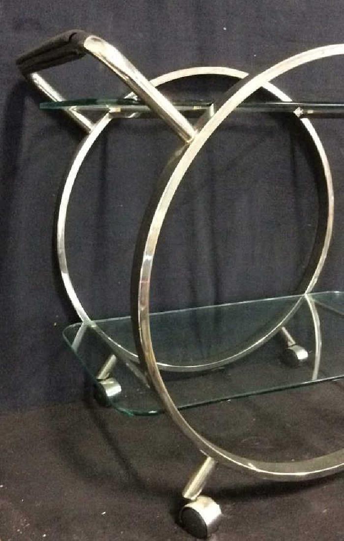 Silver Toned Metal Glass Retro Tea Cart Bar Cart - 2