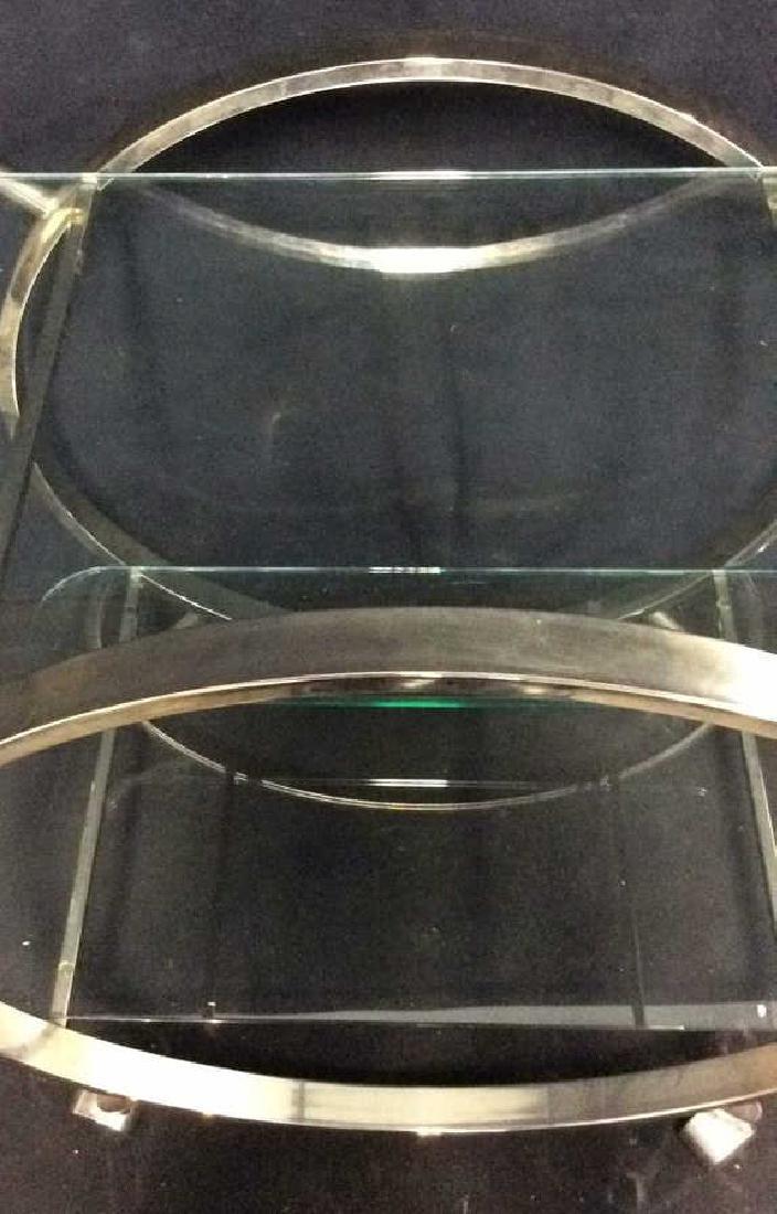 Silver Toned Metal Glass Retro Tea Cart Bar Cart - 8