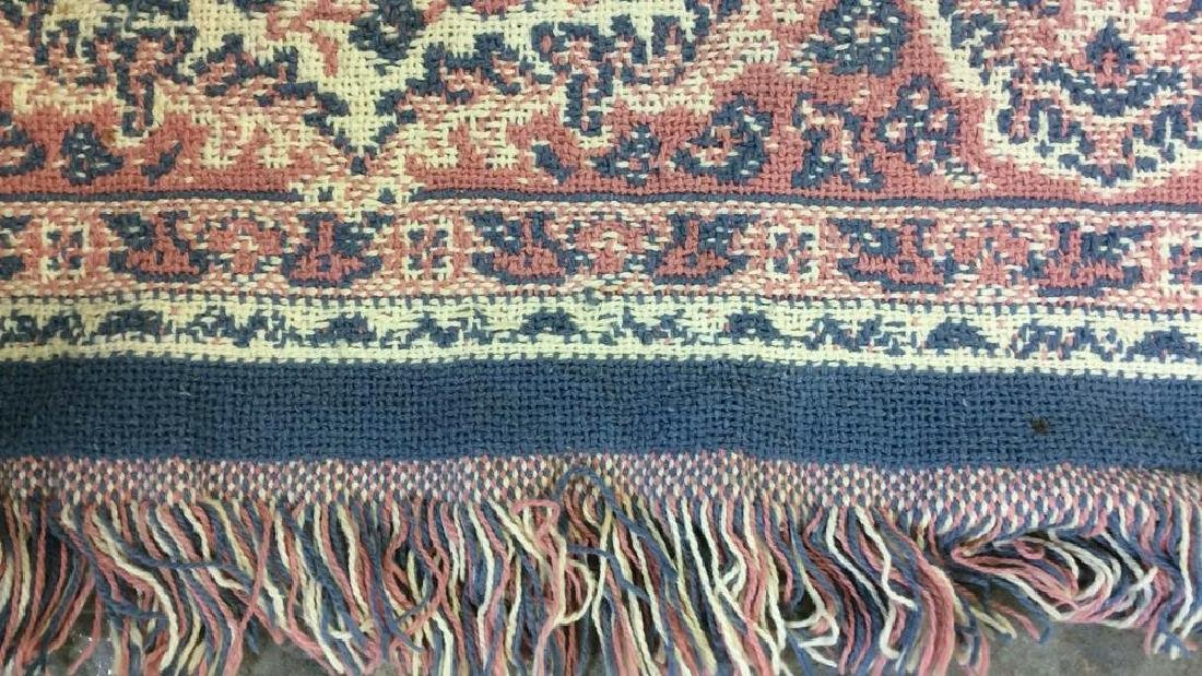 Handmade Multi Toned Fringed Wool Blanket - 8