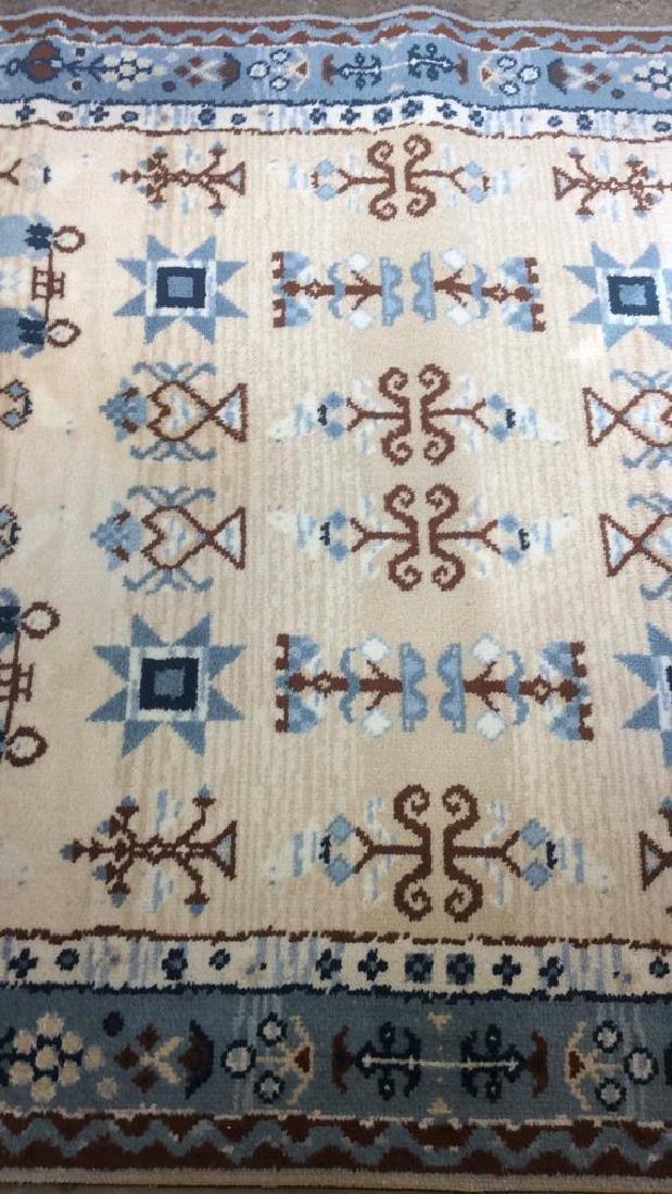 Multi Toned Fringed Blue Cream Wool Rug - 10