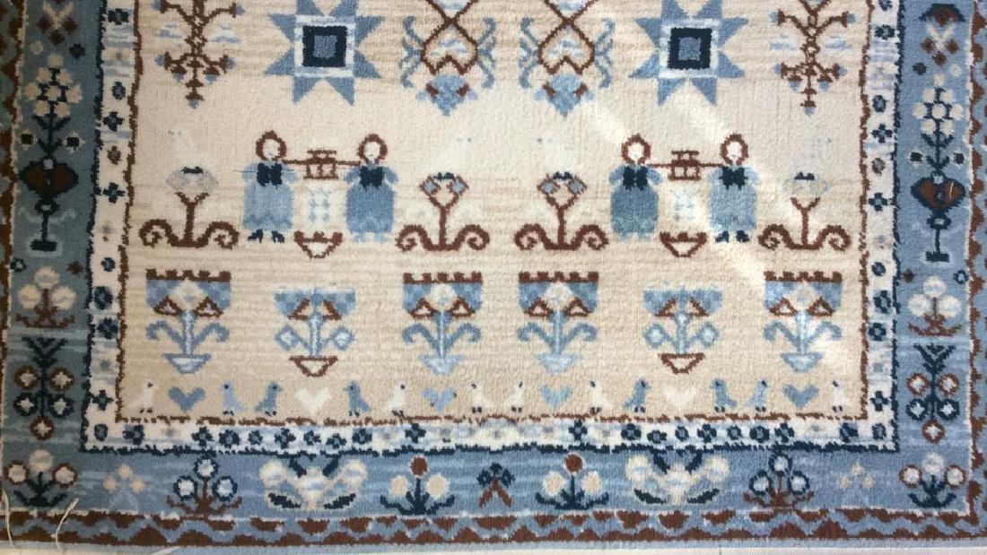 Multi Toned Fringed Blue Cream Wool Rug