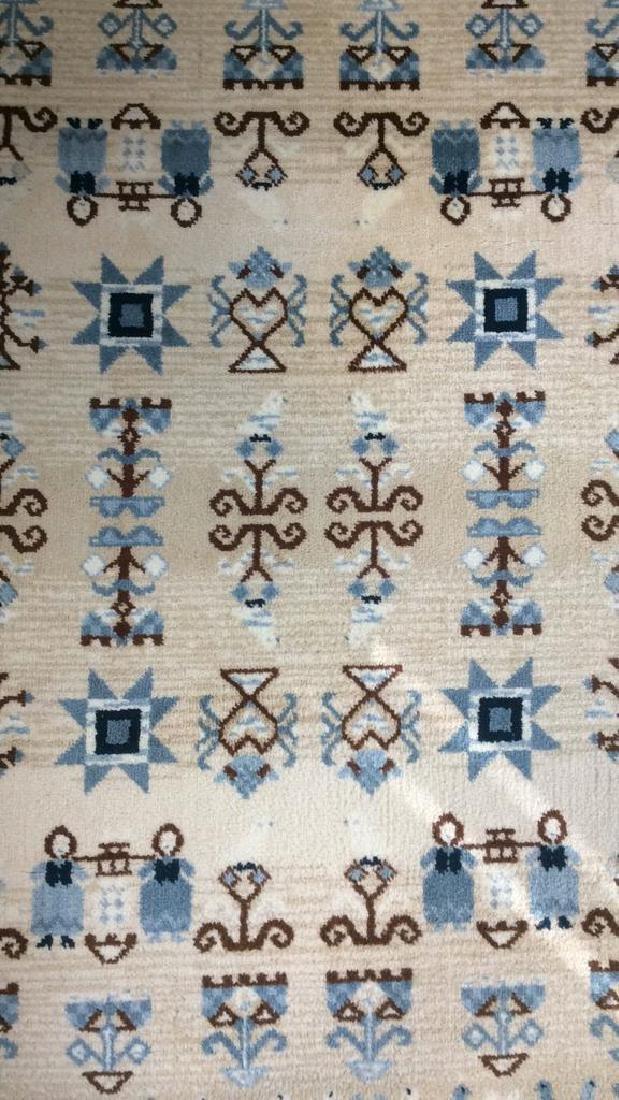 Multi Toned Fringed Blue Cream Wool Rug - 2