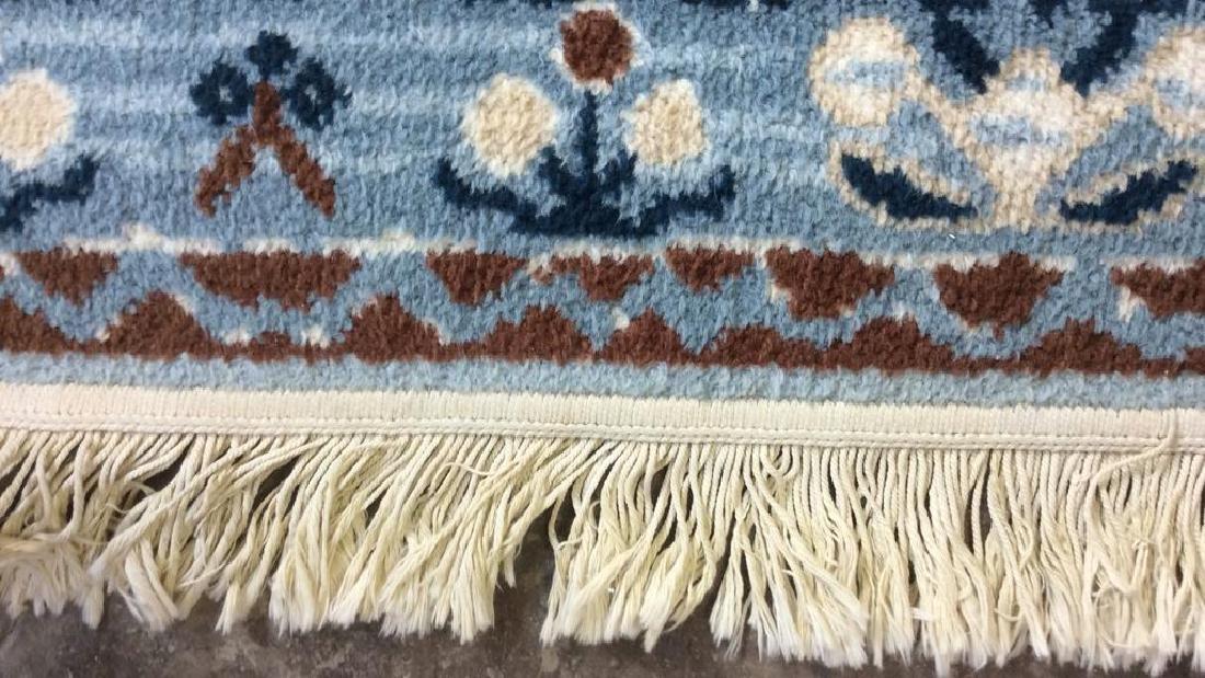 Multi Toned Fringed Blue Cream Wool Rug - 3