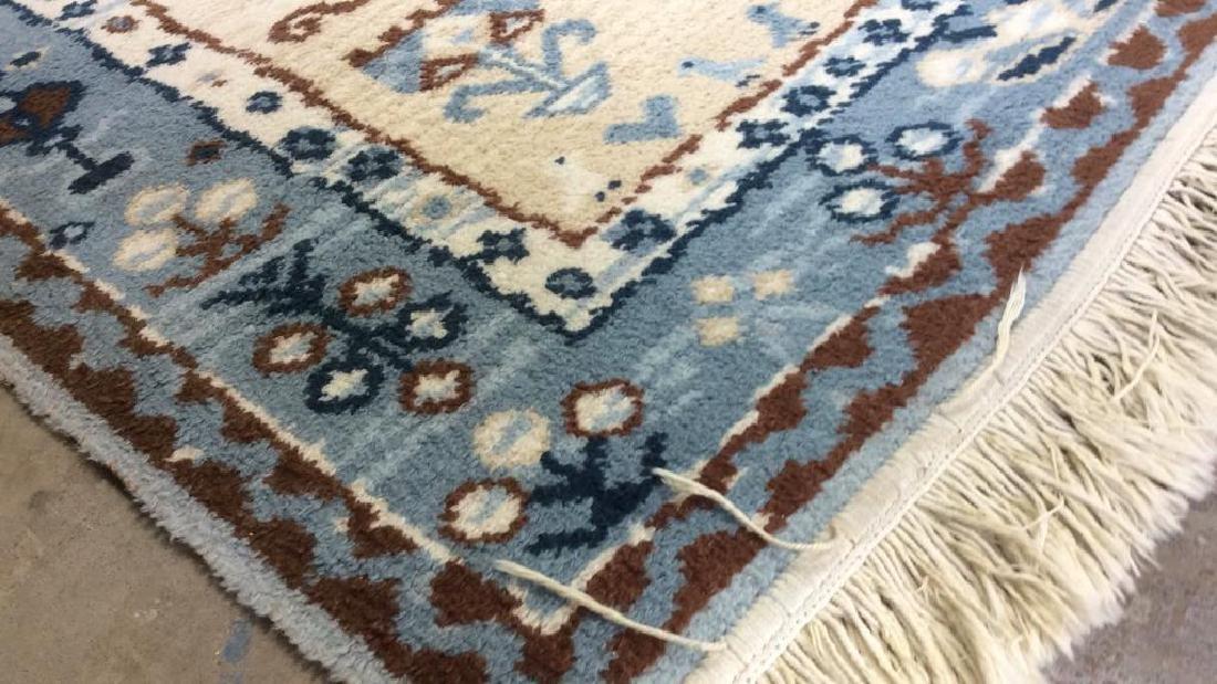 Multi Toned Fringed Blue Cream Wool Rug - 4