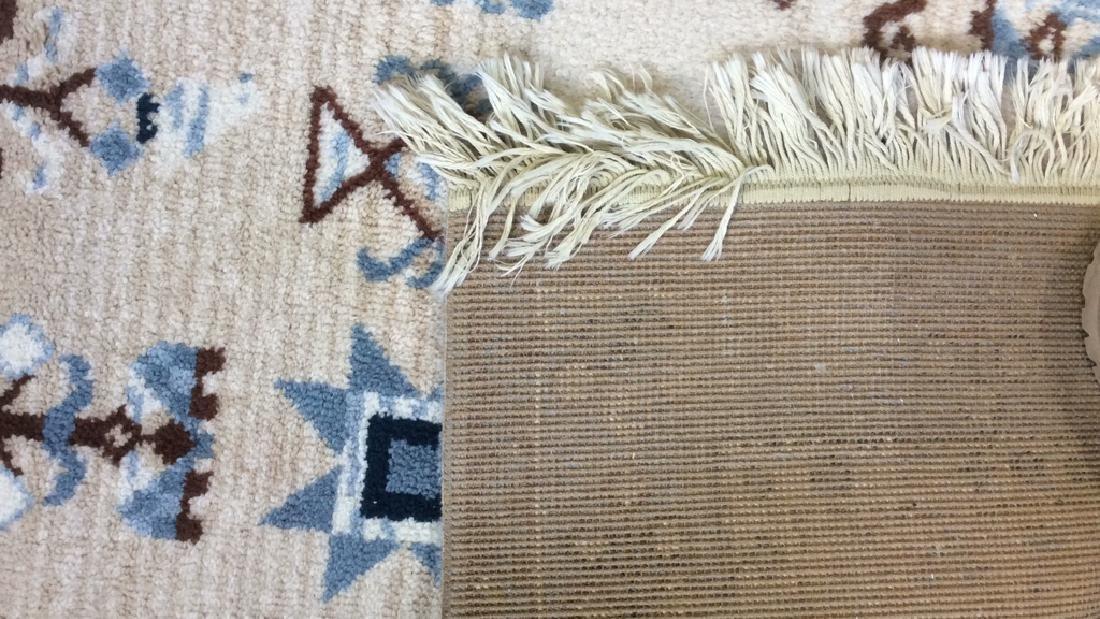 Multi Toned Fringed Blue Cream Wool Rug - 5