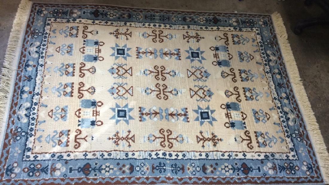 Multi Toned Fringed Blue Cream Wool Rug - 6