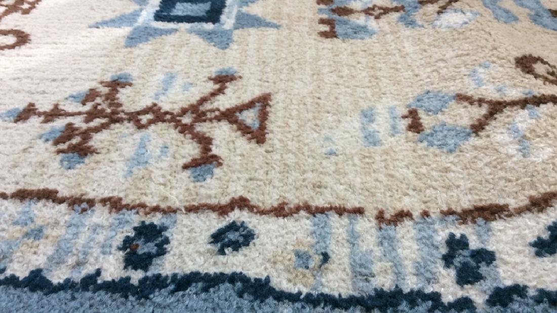 Multi Toned Fringed Blue Cream Wool Rug - 7