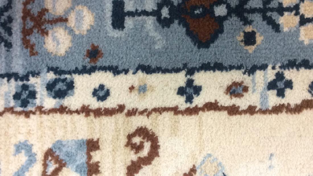 Multi Toned Fringed Blue Cream Wool Rug - 9