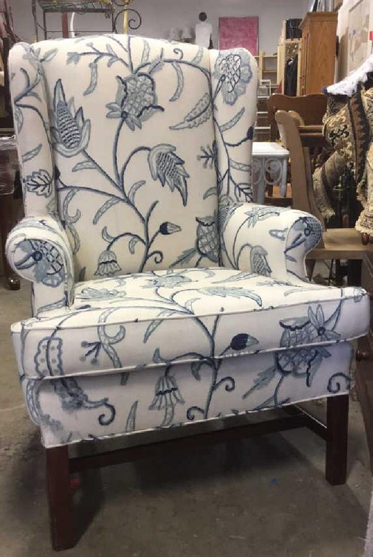 Crewel Work Fabric Wing Chair