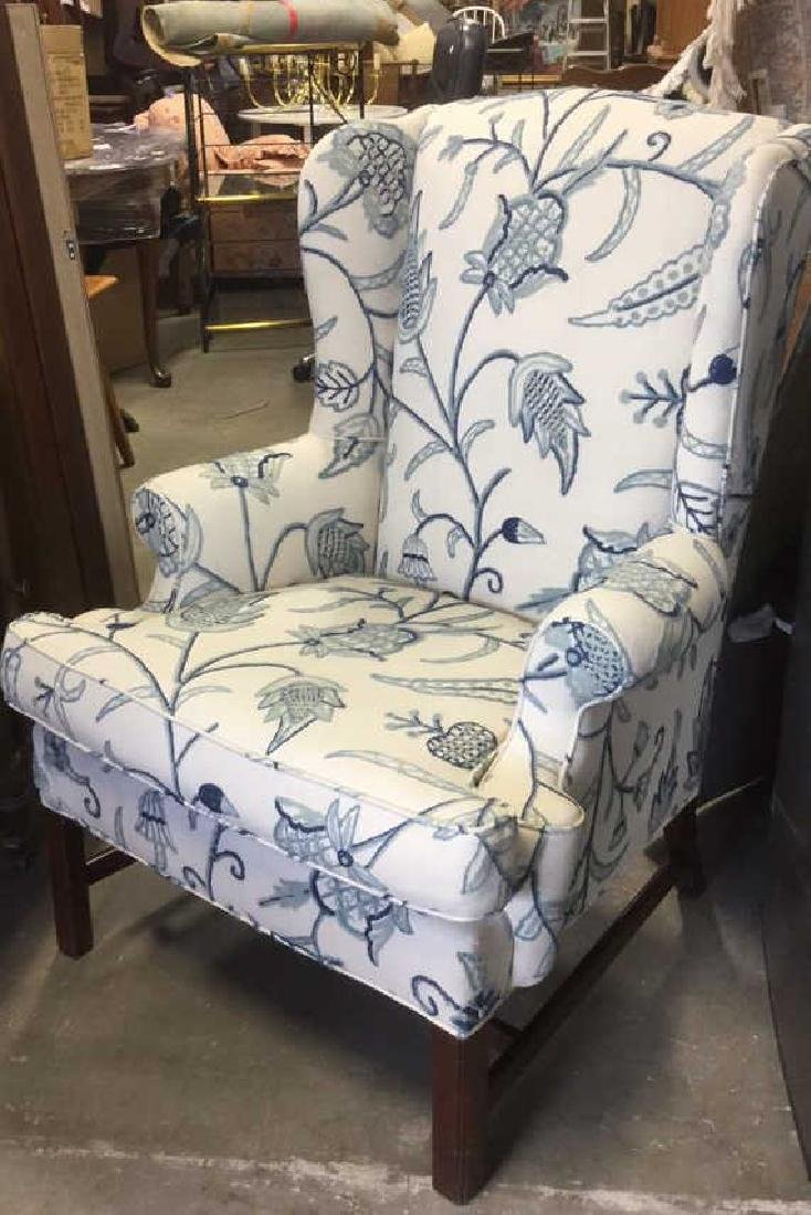 Crewel Work Fabric Wing Chair - 4