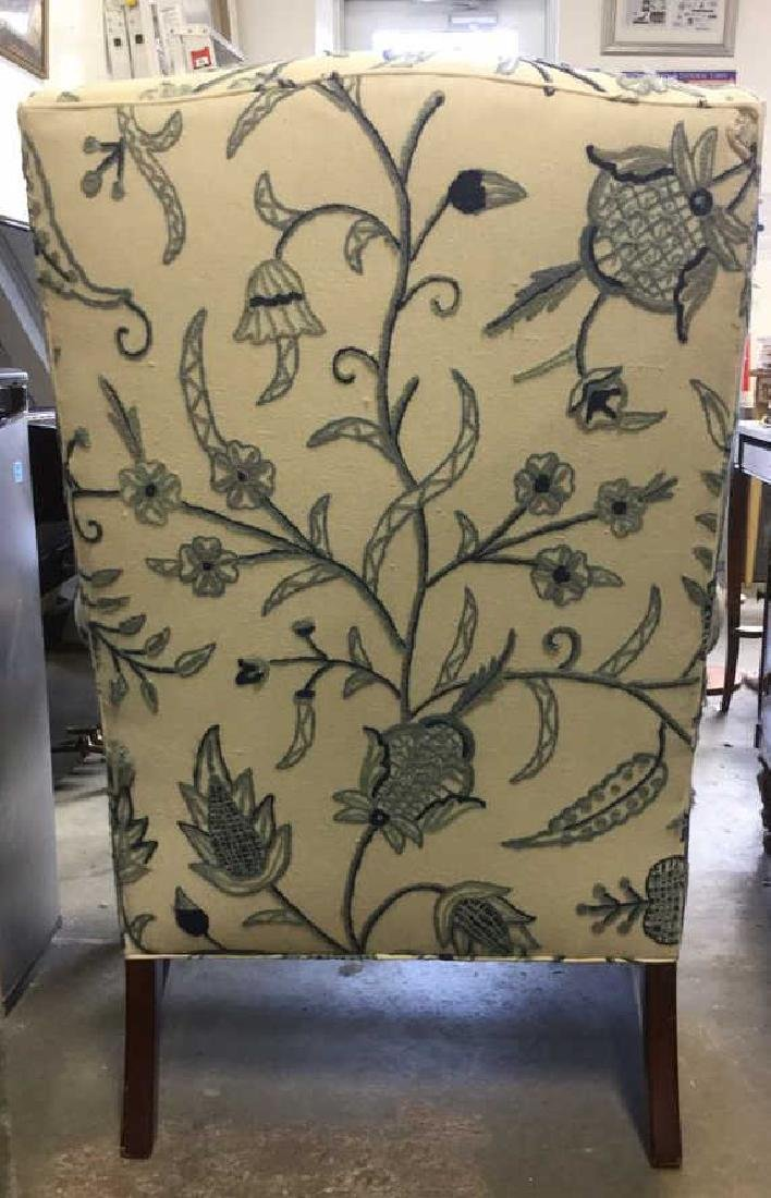 Crewel Work Fabric Wing Chair - 7
