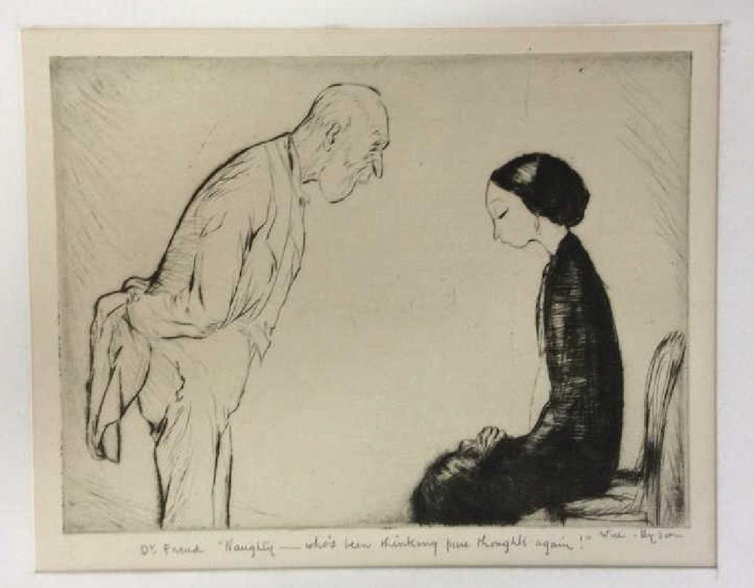 Signed Will Dyson Dr. Freud Drypoint Artwork 1920