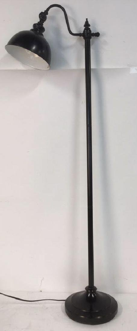 Black Toned Metal Adjustable Pharmacy Floor Lamp