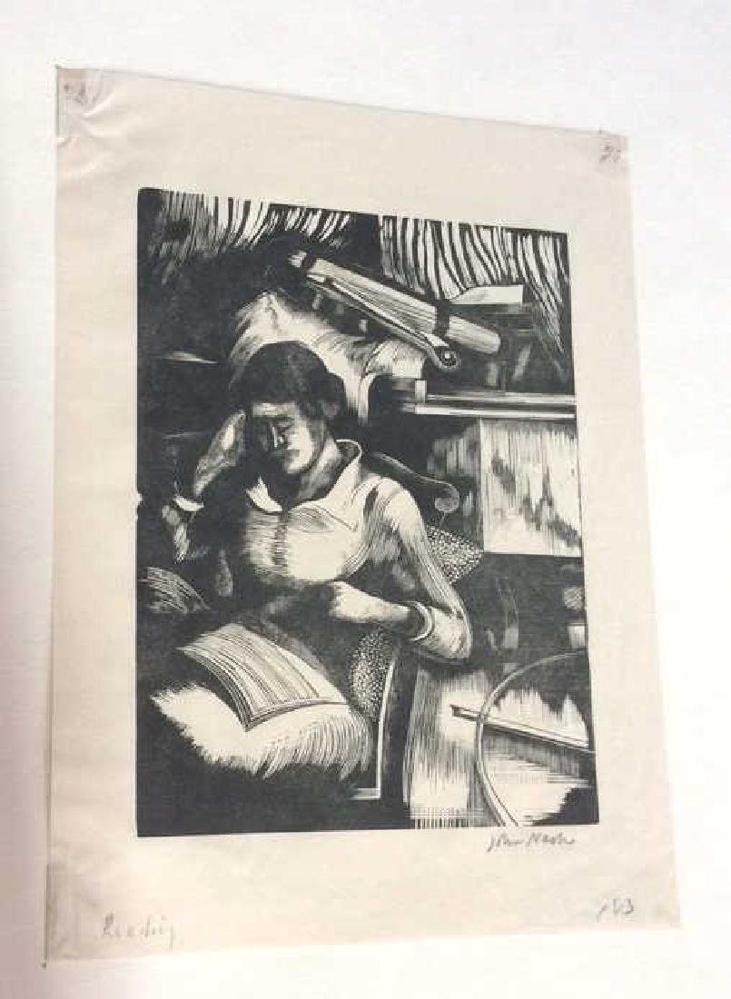 Signed John Nash Reading Aquatint 1925 - 6