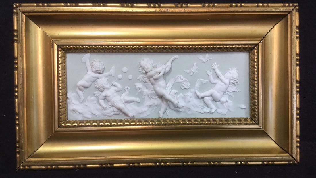 Ceramic Porcelain Relief Plaque With Cherubs