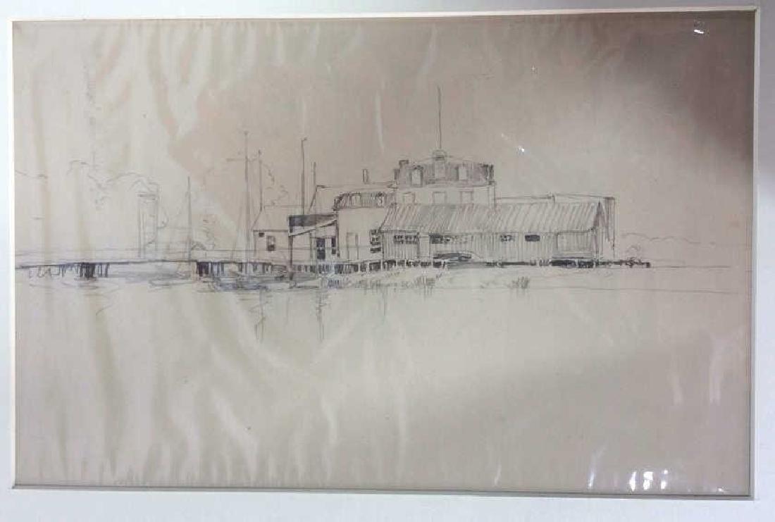 H. Farrer c1870 Pencil Drawing Harbor Scene