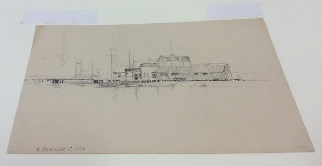 H. Farrer c1870 Pencil Drawing Harbor Scene - 3