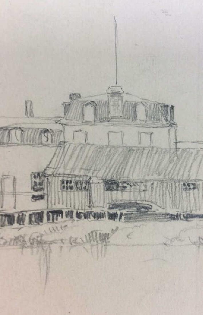 H. Farrer c1870 Pencil Drawing Harbor Scene - 4