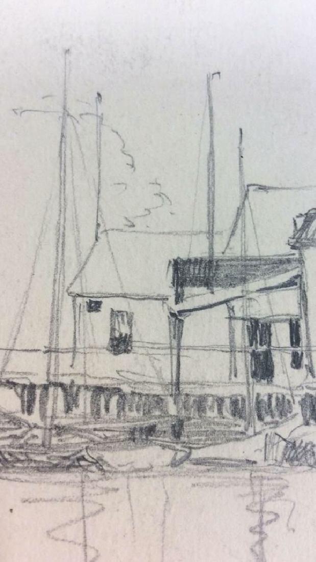 H. Farrer c1870 Pencil Drawing Harbor Scene - 5